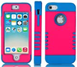 myLife (TM) Electric Blue and Hot Pink - Titan Shield Series (Neo Hypergrip Flex Gel) 3 Piece Case for iPhone 5/5S (5G) 5th Generation iTouch Smartphone by Apple (External 2 Piece Fitted On Hard Rubberized Plates + Internal Soft Silicone Easy Grip Bumper Gel)