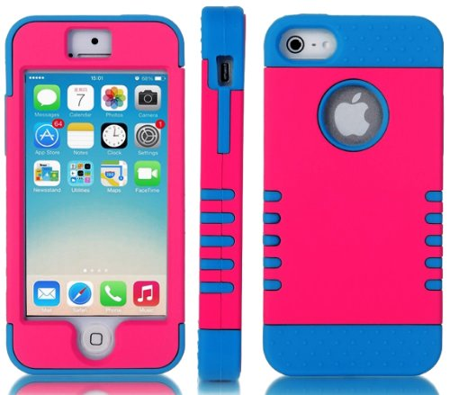 Mylife (Tm) Electric Blue And Hot Pink - Titan Shield Series (Neo Hypergrip Flex Gel) 3 Piece Case For Iphone 5/5S (5G) 5Th Generation Itouch Smartphone By Apple (External 2 Piece Fitted On Hard Rubberized Plates + Internal Soft Silicone Easy Grip Bumper