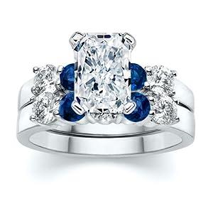 3.51 ct Radiant Diamond W Round Blue Sapphire Ring Set