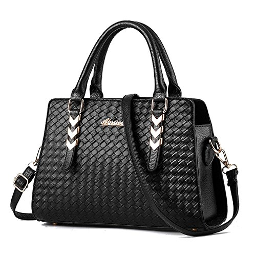 Vincico® Women Black Fashion Pure Color Pu leather Shoulder Bag Crossbody Top-handle Tote Handbags