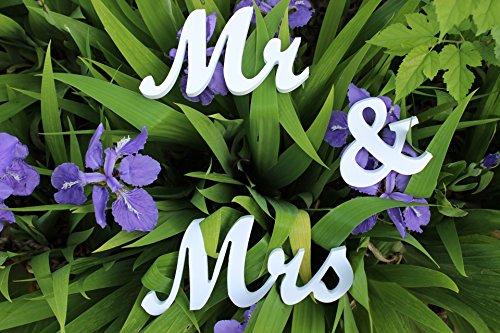 20,3cm Hauteur de mariage Mr et Mrs Signes Pour Table Sweetheart Decor Grand épais, Bois dur, blanc, 20cm height