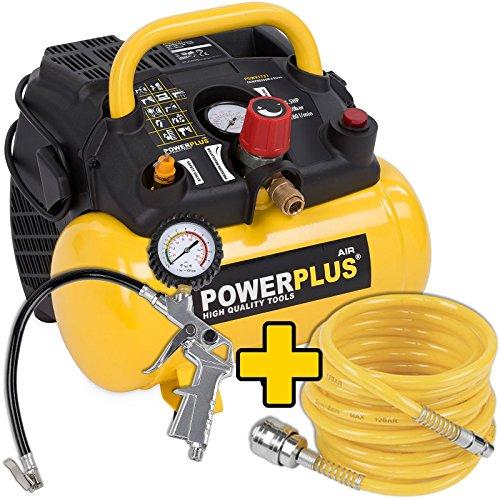1100-Watt-Kompressor-Spiralschlauch-und-Reifenfller-im-Set-15-PS-8-bar-6-Liter-Tank-Art-Nr-POWX1721-Zubehr