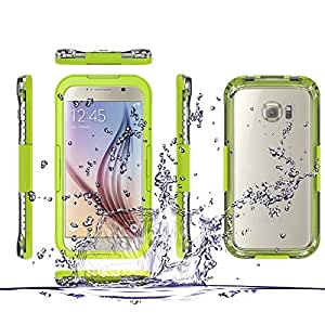 FAVOLCANO Samsung Galaxy S6 Edge Waterproof Case Premium Waterproof Shockproof Dirt Snow Proof Durable Water Resistant Full-body Case Cover for Samsung Galaxy S6 VI Edge (Green)