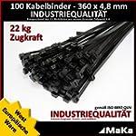 100 Stk Kabelbinder schwarz 360 x 4,8...