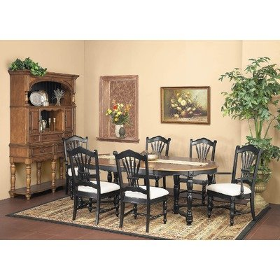 7 Piece Two-Tone Extendable Round Dining Table Set