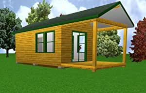 12'x 20' Starter Cabin w/ Covered Porch Plans - Woodworking Project ...