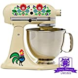 Dutch Folk Art Rooster And Flowers Kitchen Stand Mixer Appliance Decal Front/Back Vinyl Decal Set - Full Color