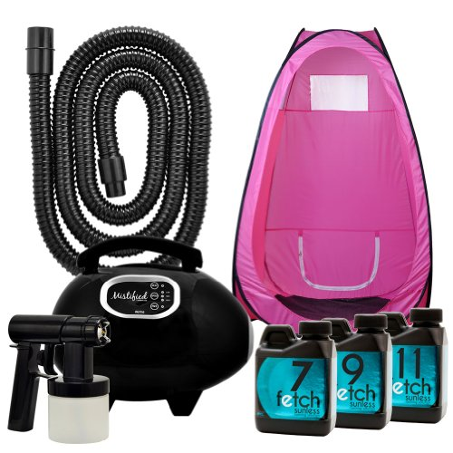 Mistified Fetch Tan Dha Solution Pink Tent Hvlp Spray Tanning Machine Kit 1A front-778086