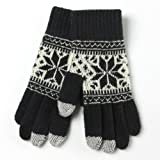 iTouch Touchscreen Snowflake Design Gloves for Touch Screen Devices (Black)