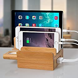 FLECK 5-Port Fast USB Charging Station 100% Natural Bamboo Apple Watch Stand Charger Charging Dock/Holder For Apple Watch All iPhones & Android Smartphones Tablets, With 4 Short Apple Lightning Cables