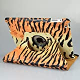 Ctech Tiger Skin 360 Degree Rotating Stand Smart Cover PU Leather Case for iPad 2 / the new iPad 3 3rd Generation (Supports wake/sleep functions)