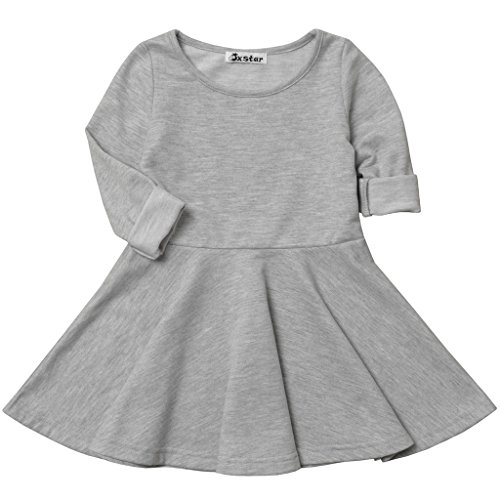 Jxstar Baby Girls' Long Sleeve Cotton Ruffle Top Dress Grey 90
