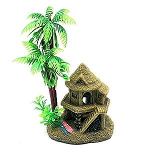 Dimart aquariums coconut tree castle ornaments decorations for Fish tank decorations amazon