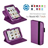 Exact(TM) 360 degree Rotary leather case for Nook HD 7 Tablet Purple (Support Auto Sleep/Wake Function)