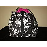 Thirty One Cinch It up Thermal Tote Black Floral Brushstrokes