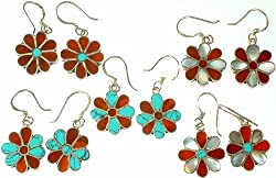 Exotic India Lot of Five Floral Inlay Earrings - Sterling Silver