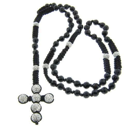 8mm Faceted Onyx Gemstone with 10mm White Czech Crystal Rosary Necklace