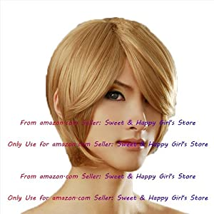 NEW Fashion Sexy short Gold Blonde Straight Anime cosplay wigs party Masquerade girls wigs 30cm