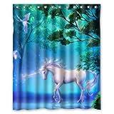 Rideau-de-douche-artistique-tui-de-Monsieur-Kill-Designs-lgant-dcoratif-unique-Cool-Fun-Funky-de-Salle-de-Bain-1524-cm-W-x-1829-cm-H-Licornes-Pegasus-Oiseaux-Glow-fantaisie