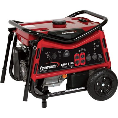 Powermate Portable Generator – 8125 Surge Watts, 6500 Rated Watts, Electric Start, Model# PMC106507