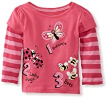 Watch Me Grow! by Sesame Street Baby-girls Infant Counting Butterfly Lady Bugs Bees Mock Twofer Pullover, Pink Bright, 12 Months