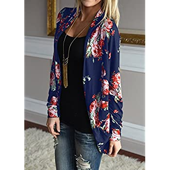 Walant Women Floral Long Sleeve Kimono Boyfriend Cardigans Coat Tops Outwear