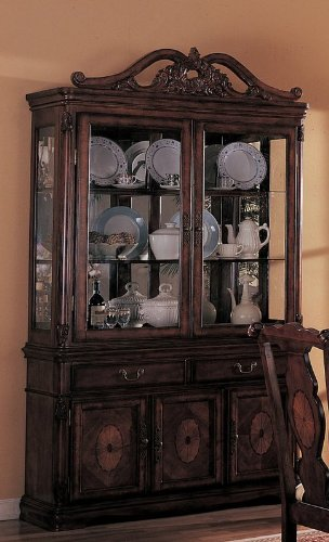 Cheap China Cabinet Buffet Hutch with Carved Detail Brown Finish (VF_3646)