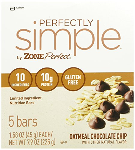 ZonePerfect Perfectly Simple Nutrition Bars, Oatmeal Chocolate Chip, 1.58-Ounce, 20 Count