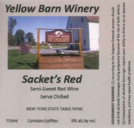 "Nv Yellow Barn Winery ""Sackets Red"" Semi-Sweet Red 750 Ml"