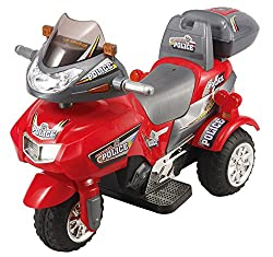Toyhouse Thunder Patrol Bike 6V Rechargeable Battery Operated Ride On, Red