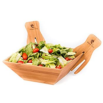 Wood Salad Bowl Set With Bamboo Servers, Best For Serving Salad, Pasta, and Fruit. Beautiful Bowl Looks Great On Your Kitchen Counter. Safe