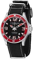 Stuhrling Original Men's 395C.331OB1 Aquadiver Regatta Champion II Stainless Steel Dive Watch with Balck Canvas Band
