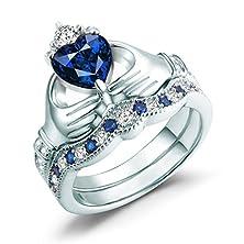 buy Claddagh Ring, Irish Claddagh Friendship & Love Heart Created Blue Sapphire Bridal Rings Set Sterling Silver