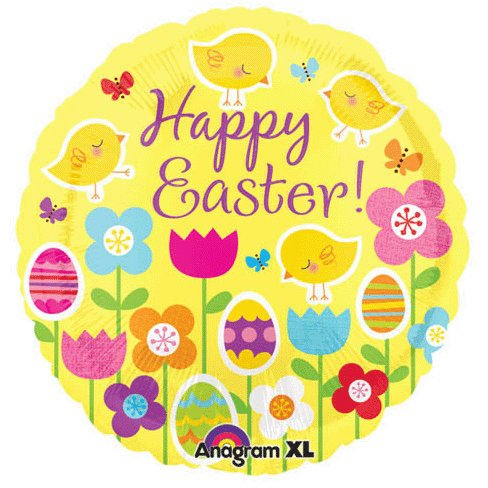 Happy Easter Chick/Flower Foil Balloon