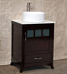 24 bathroom vanity solid wood cabinet white tech stone quartz