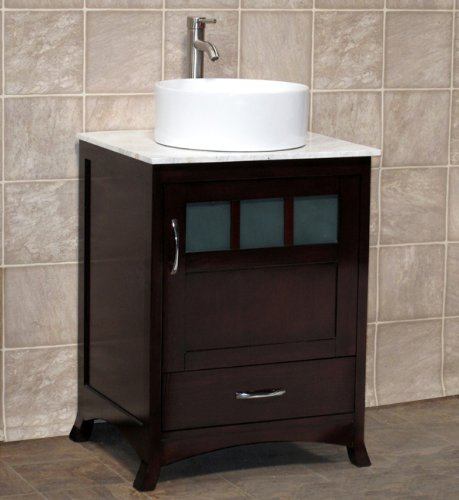 24 Bathroom Vanity Solid Wood Cabinet Carrara White