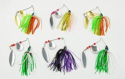 Easy Catch ® 6pack18.4g/0.64oz Mixed Wonderfull Colors Fishing Hard Spinner Baits Lures Kit Spinnerbait Pike Bass with Hand Holographic Painted Blades for Saltwater Fishing from JL Sport