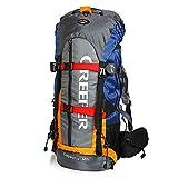 Creeper キャンプバックパック 超大容量 ナイロン 防水 60Lバックパック 収納力抜群 SBSファスナー 人間らしい設計 1000Dナイロン 撮影・釣り・登山・旅行・野営用 ナローバックパック