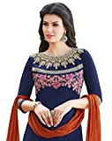 Kvsfab Blue & Orange Satin Cotton Embroiderd Patiala Readymade Suit