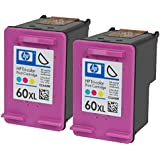 Genuine Original HP 2 Pack CC644WN (HP 60XL) High-Yield Color Ink Cartridge in Factory Sealed Foil Packaging. No Retail Boxes.