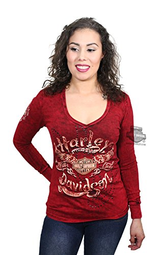 Harley-Davidson Womens Wind Therapy Winged B&S V-Neck Red Long Sleeve T-Shirt - LG