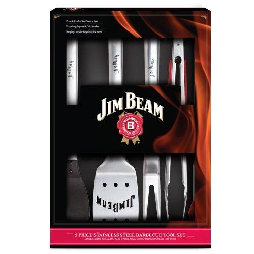 Jim Beam Grillbesteck mit gummierten Edelstahlgriffen im Geschenkset, 5 tlg.