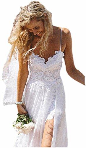 ESY Women's Spagetti Chiffon Empire Backless Beach Wedding Dress White US4