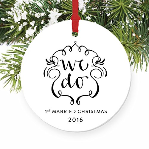 1st Married Christmas Ornament, Wedding Porcelain Ceramic Ornament, First Christmas as Mr & Mrs, 3