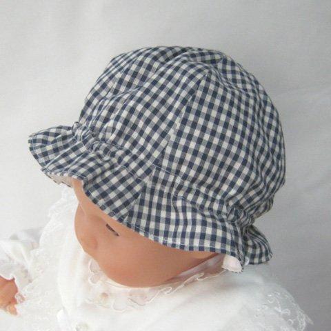 ギンガムチェック ベビー用 お帽子 サイズ40-44 調節ひも付き