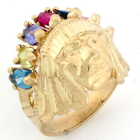 9ct Gold 7 Stone CZ American Indian Small Mens Ring