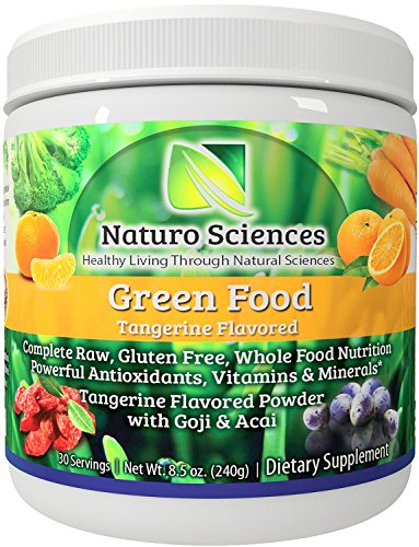 Super Greens Food Supplement By Naturo Sciences the First Complete Green Food To Go Nutrition with Powerful Food Based Multi Vitamins with Wheat Grass for You Amazing Tangerine 8.5oz 30 Servings (Wheatgrass Juice Powder Bulk compare prices)