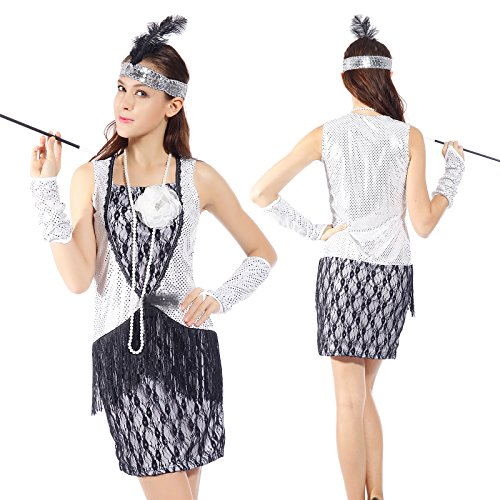 Womens Sexy 1920s Retro Sequined Lace Charleston Gatsby Flapper Fancy Dress