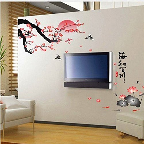 Amaonm® Huge Removable DIY Pink Flowers Wall Decals Branches Lotus with Chinese Character Wall Stickers Murals for Kids Baby Room Girls Bedroom Livingroom TV Background