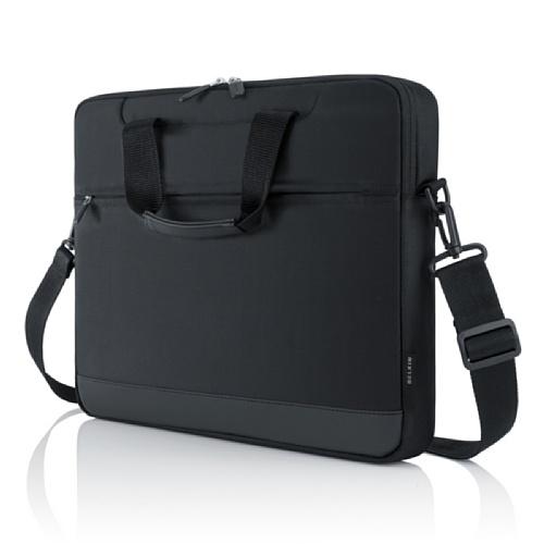 Belkin F8N309cw Borsa da Trasporto Compatta per MacBook da 13.3 Pollici, Tracolla Removibile, Maniglia Antiscivolo, Panelli Organizzativi, Nero